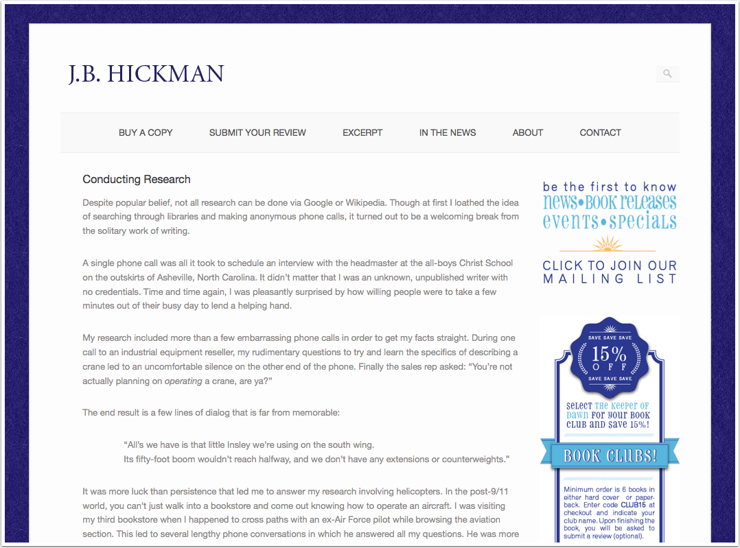 Conducting-Research—JB-Hickman | Shadeflower Designs